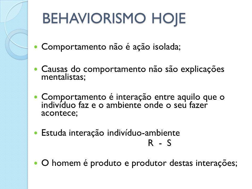 BEHAVIORISMO HOJE Comportamento não é ação isolada; Causas do comportamento não são explicações mentalistas; Comportamento é interação entre aquilo qu