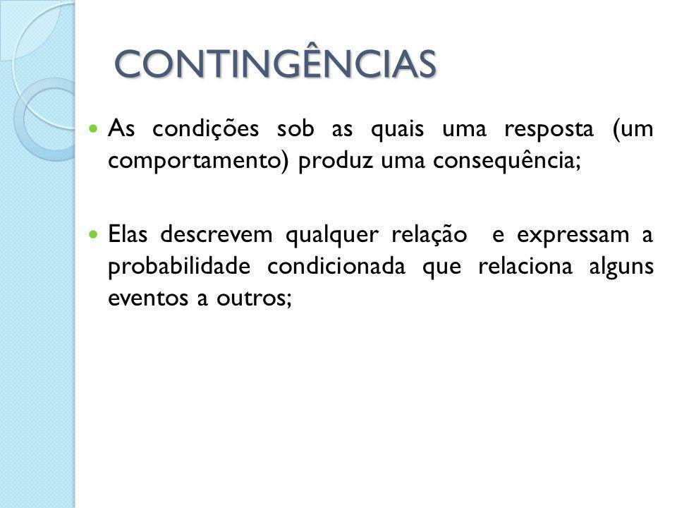 CONTINGÊNCIAS As condições sob as quais uma resposta (um comportamento) produz uma consequência; Elas descrevem qualquer relação e expressam a probabi