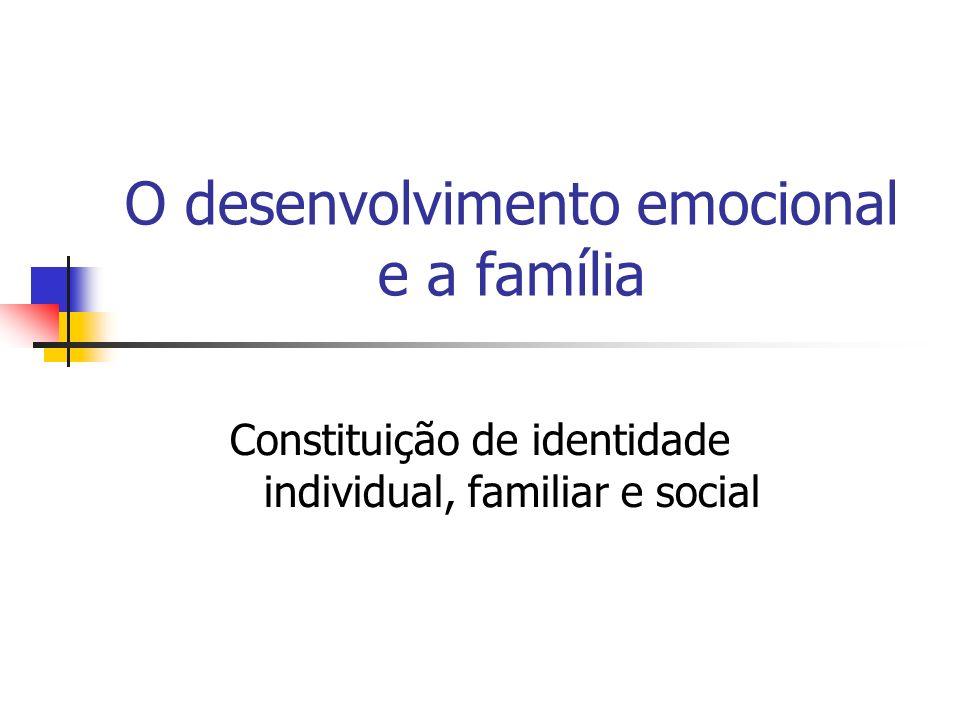 O desenvolvimento emocional e a família Constituição de identidade individual, familiar e social
