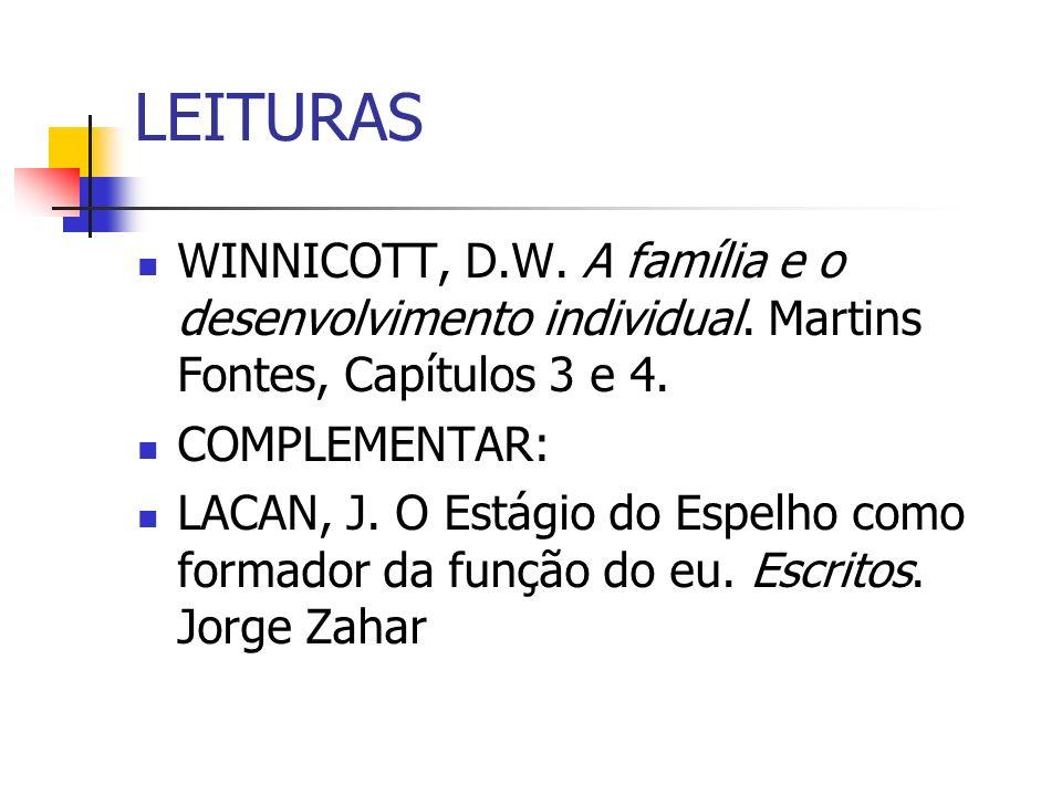 LEITURAS WINNICOTT, D.W. A família e o desenvolvimento individual.