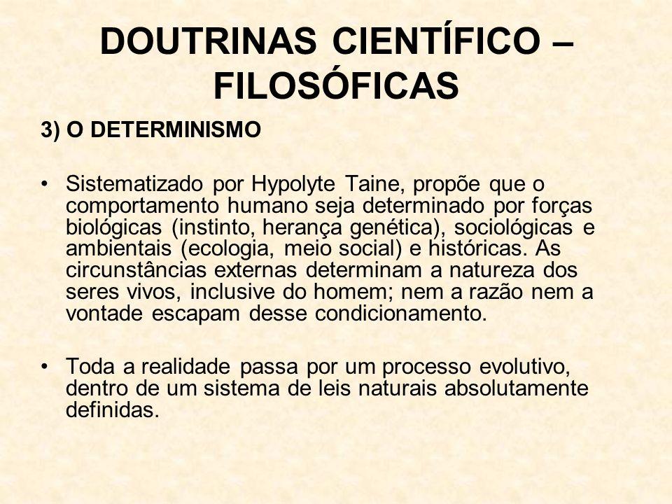 DOUTRINAS CIENTÍFICO – FILOSÓFICAS 3) O DETERMINISMO Sistematizado por Hypolyte Taine, propõe que o comportamento humano seja determinado por forças biológicas (instinto, herança genética), sociológicas e ambientais (ecologia, meio social) e históricas.
