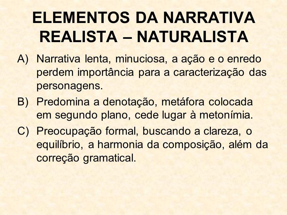 ELEMENTOS DA NARRATIVA REALISTA – NATURALISTA A) Narrativa lenta, minuciosa, a ação e o enredo perdem importância para a caracterização das personagens.