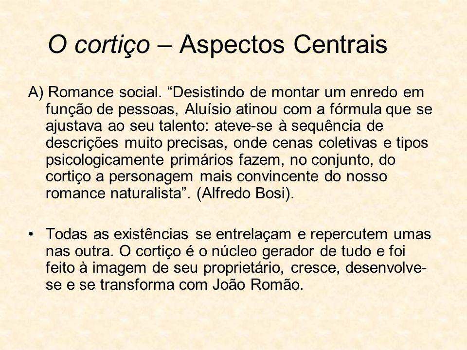 O cortiço – Aspectos Centrais A) Romance social.