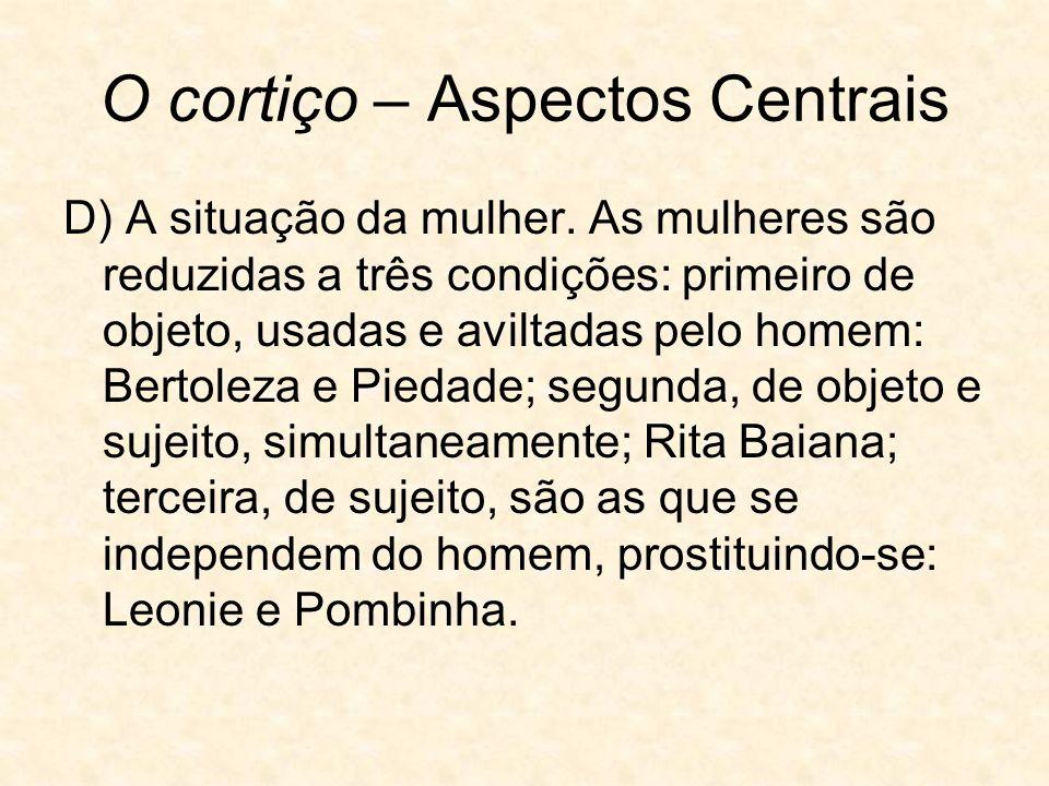 O cortiço – Aspectos Centrais D) A situação da mulher.