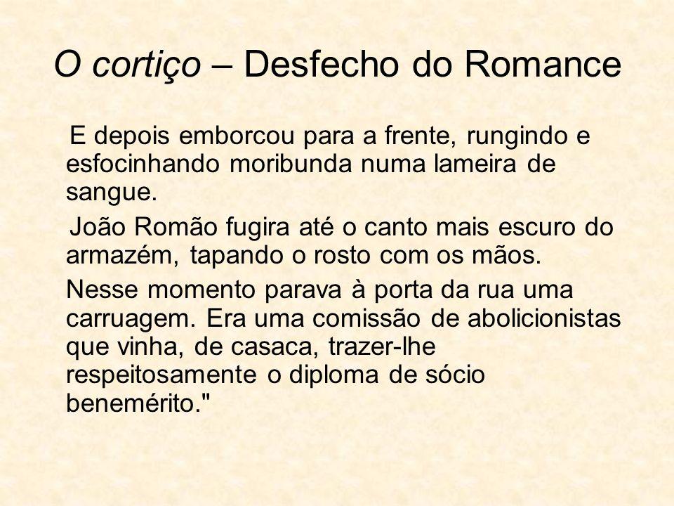 O cortiço – Desfecho do Romance E depois emborcou para a frente, rungindo e esfocinhando moribunda numa lameira de sangue.