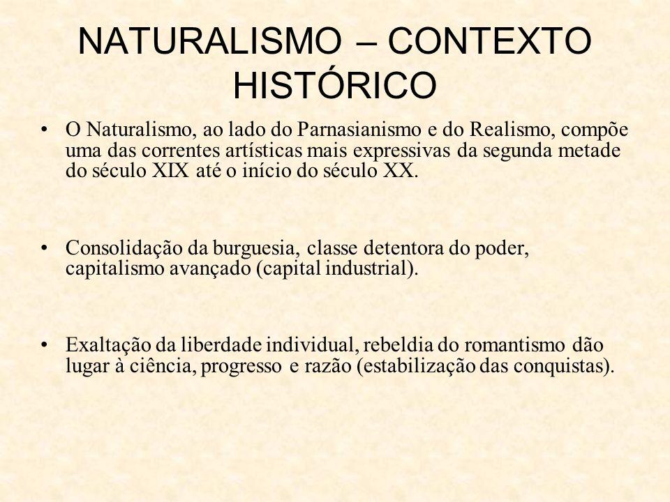 NATURALISMO – CONTEXTO HISTÓRICO O Naturalismo, ao lado do Parnasianismo e do Realismo, compõe uma das correntes artísticas mais expressivas da segunda metade do século XIX até o início do século XX.