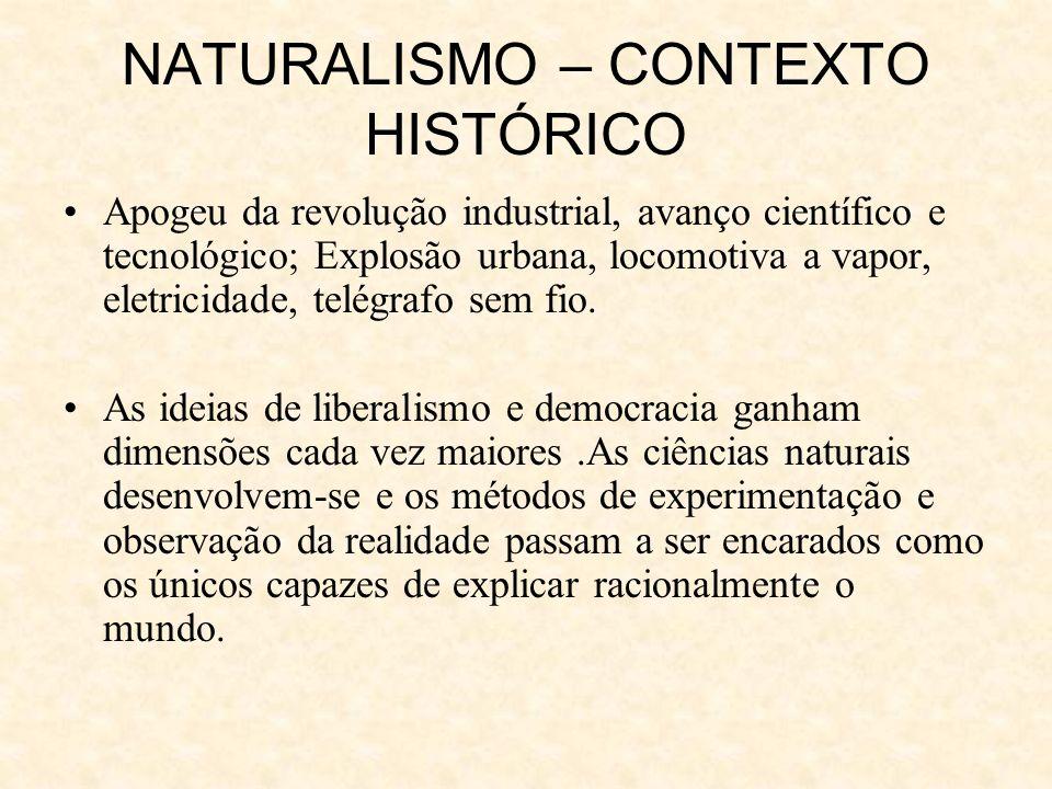 NATURALISMO – CONTEXTO HISTÓRICO Apogeu da revolução industrial, avanço científico e tecnológico; Explosão urbana, locomotiva a vapor, eletricidade, telégrafo sem fio.