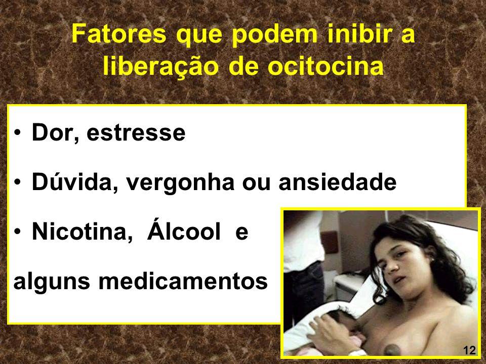 Fatores que podem inibir a liberação de ocitocina Dor, estresse Dúvida, vergonha ou ansiedade Nicotina, Álcool e alguns medicamentos 12