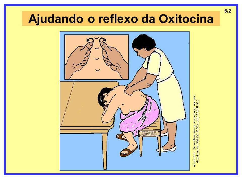Ajudando o reflexo da Oxitocina 6/2 Adaptado de Aconselhamento em amamentação: um curso de treinamento WHO/CHD/93.4, UNICEF/NUT/93.2