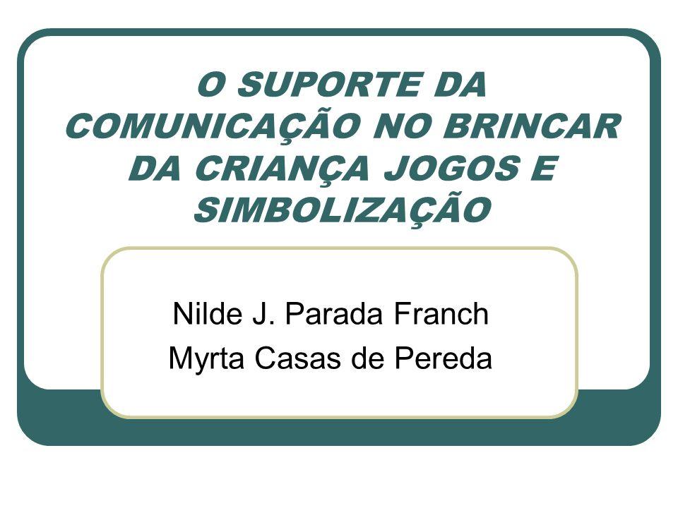 O SUPORTE DA COMUNICAÇÃO NO BRINCAR DA CRIANÇA JOGOS E SIMBOLIZAÇÃO Nilde J. Parada Franch Myrta Casas de Pereda