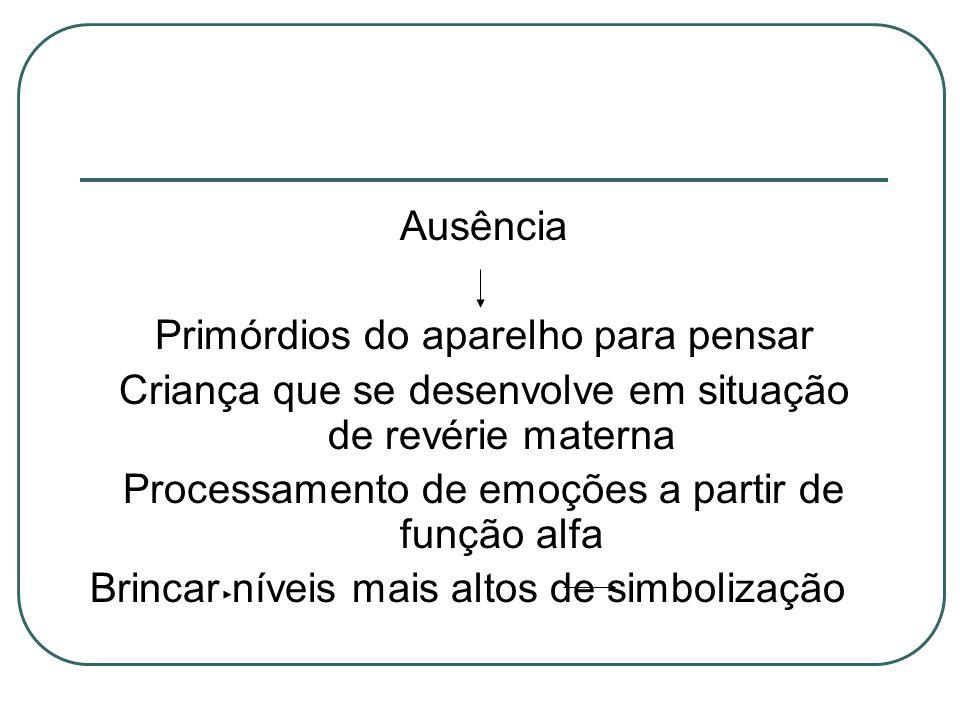 Ausência Primórdios do aparelho para pensar Criança que se desenvolve em situação de revérie materna Processamento de emoções a partir de função alfa