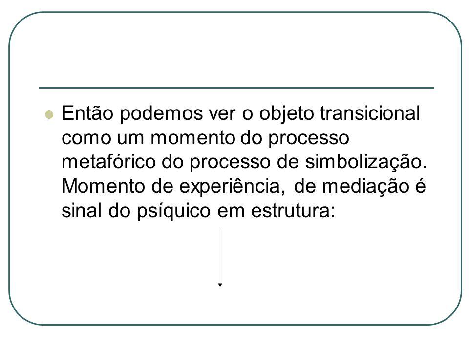 Então podemos ver o objeto transicional como um momento do processo metafórico do processo de simbolização. Momento de experiência, de mediação é sina