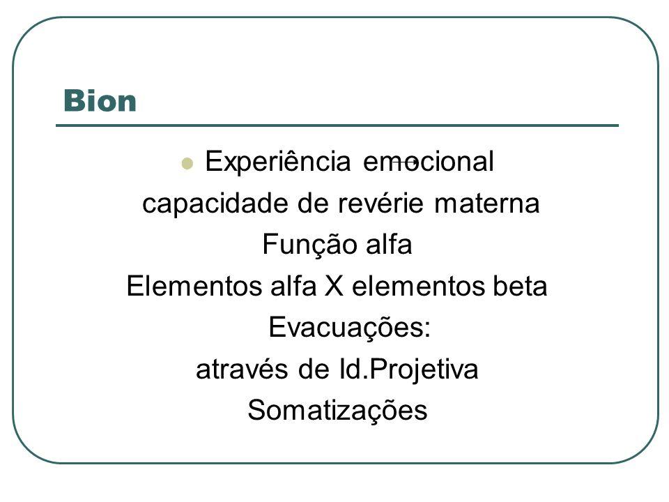 Bion Experiência emocional capacidade de revérie materna Função alfa Elementos alfa X elementos beta Evacuações: através de Id.Projetiva Somatizações
