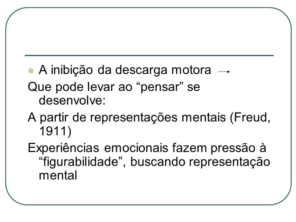 Representação mental da experiências emocionais Outros tipos de manejo de angústia e desespero são possíveis: Cuidados maternos:reduzem progressivamente as sensações de tensão Aparelho para pensar pensamentos (Bion)