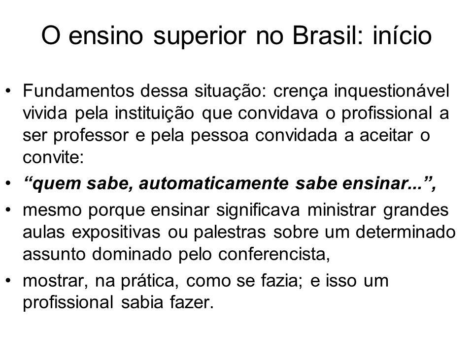 O ensino superior no Brasil: início Recentemente: professores universitários começaram a se conscientizar de que: a docência, como a pesquisa,e o exercício de qualquer profissão, exige capacitação própria e específica.