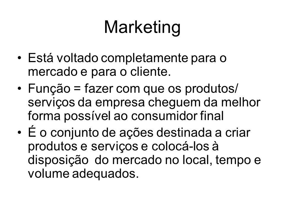 Marketing Está voltado completamente para o mercado e para o cliente. Função = fazer com que os produtos/ serviços da empresa cheguem da melhor forma