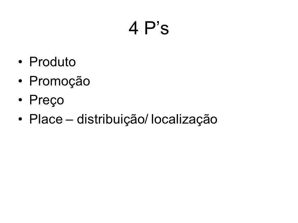 4 Ps Produto Promoção Preço Place – distribuição/ localização