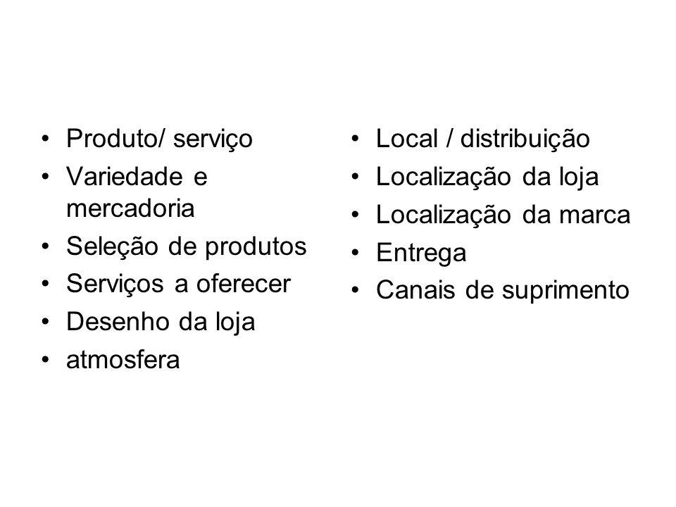 Produto/ serviço Variedade e mercadoria Seleção de produtos Serviços a oferecer Desenho da loja atmosfera Local / distribuição Localização da loja Loc