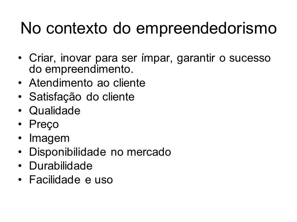 No contexto do empreendedorismo Criar, inovar para ser ímpar, garantir o sucesso do empreendimento. Atendimento ao cliente Satisfação do cliente Quali