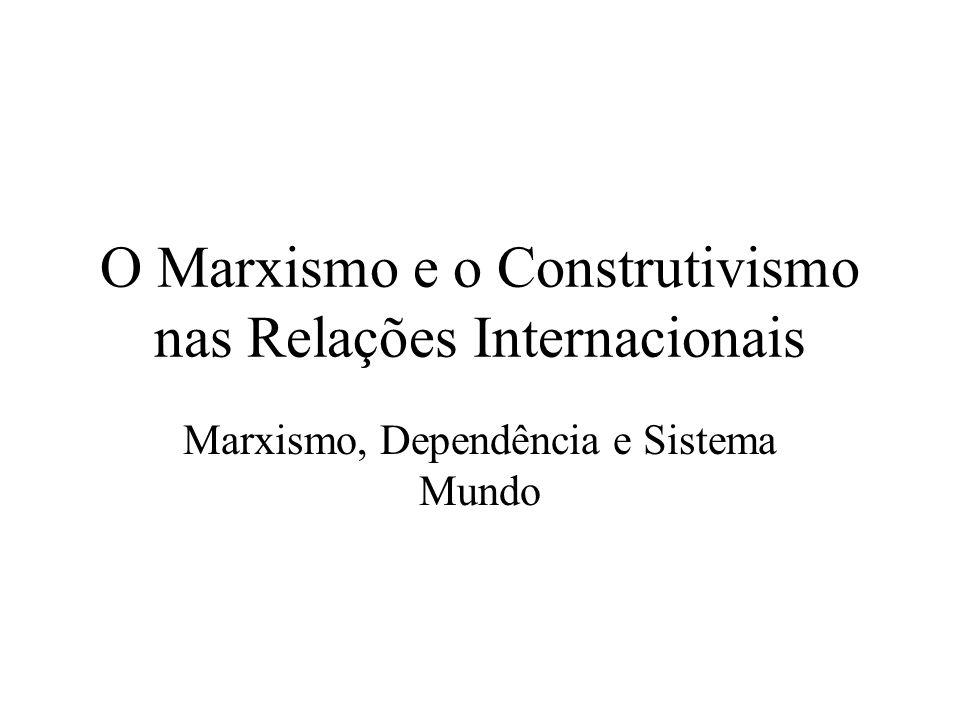 O Marxismo e o Construtivismo nas Relações Internacionais A relevância do Mundo para o pensamento Marxista Por que a Revolução não ocorreu ainda.