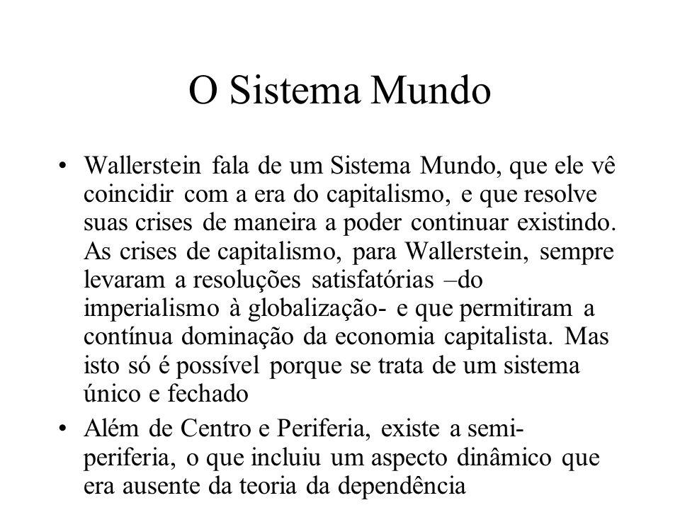 O Sistema Mundo Wallerstein fala de um Sistema Mundo, que ele vê coincidir com a era do capitalismo, e que resolve suas crises de maneira a poder cont
