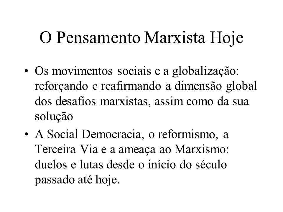 O Pensamento Marxista Hoje Os movimentos sociais e a globalização: reforçando e reafirmando a dimensão global dos desafios marxistas, assim como da su