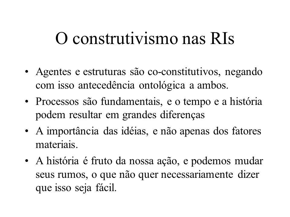 O construtivismo nas RIs Agentes e estruturas são co-constitutivos, negando com isso antecedência ontológica a ambos. Processos são fundamentais, e o