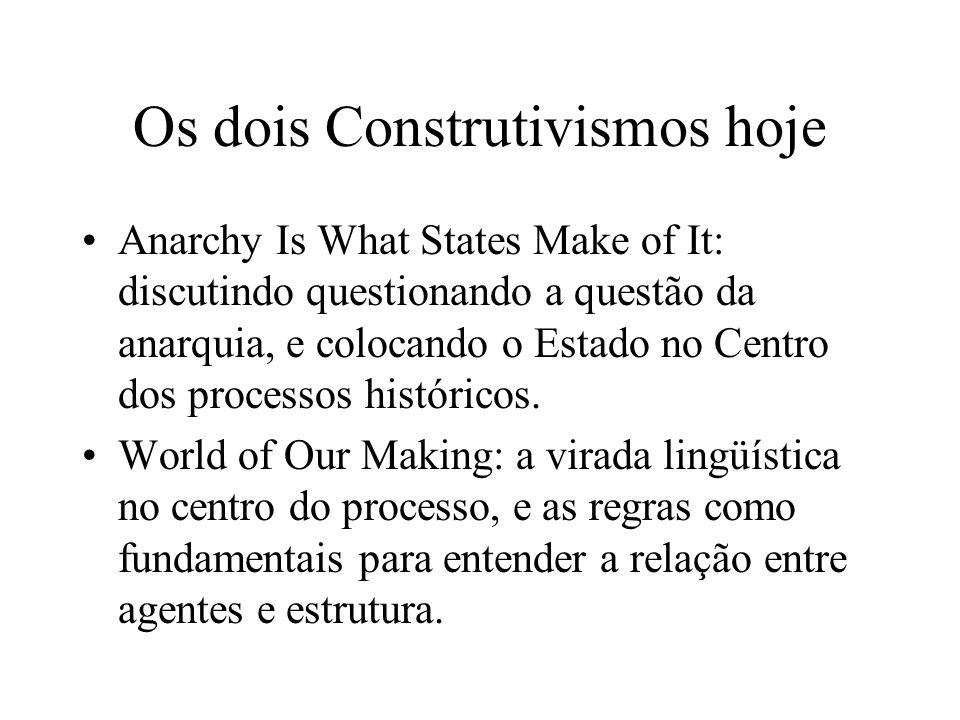 Os dois Construtivismos hoje Anarchy Is What States Make of It: discutindo questionando a questão da anarquia, e colocando o Estado no Centro dos proc