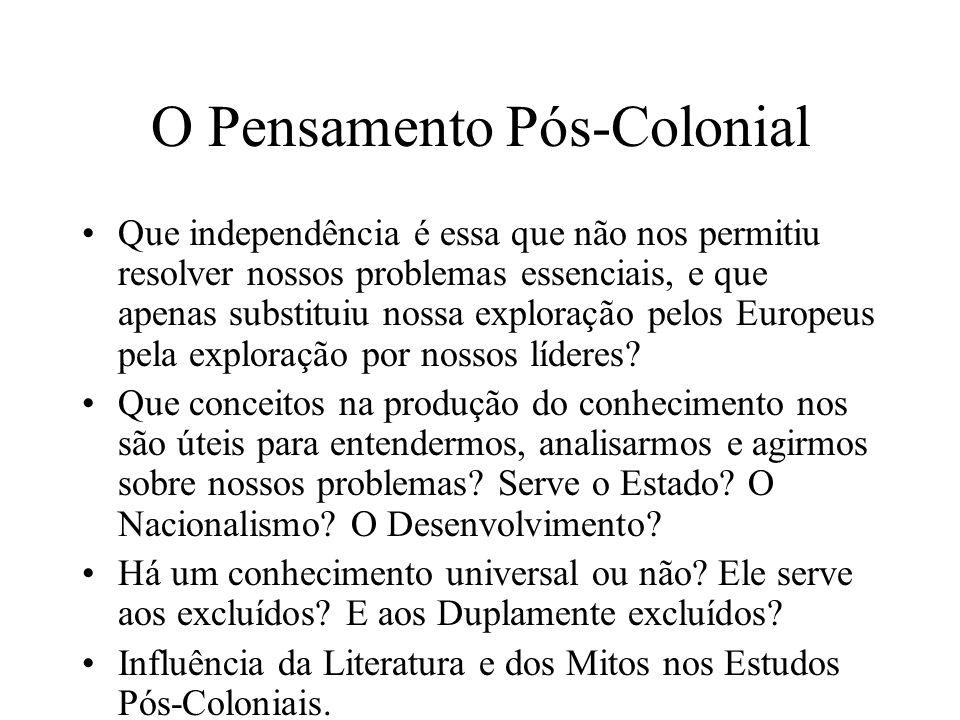 O Pensamento Pós-Colonial Que independência é essa que não nos permitiu resolver nossos problemas essenciais, e que apenas substituiu nossa exploração