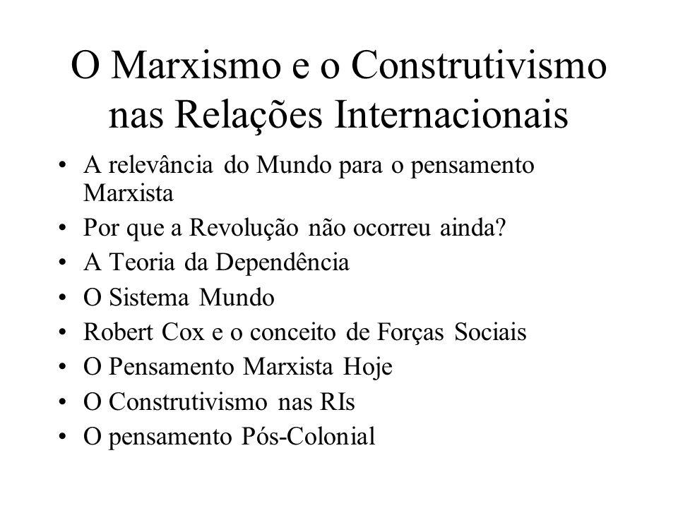 O Marxismo e o Construtivismo nas Relações Internacionais A relevância do Mundo para o pensamento Marxista Por que a Revolução não ocorreu ainda? A Te
