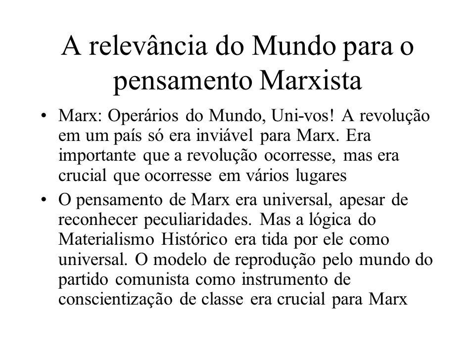 A relevância do Mundo para o pensamento Marxista Marx: Operários do Mundo, Uni-vos! A revolução em um país só era inviável para Marx. Era importante q
