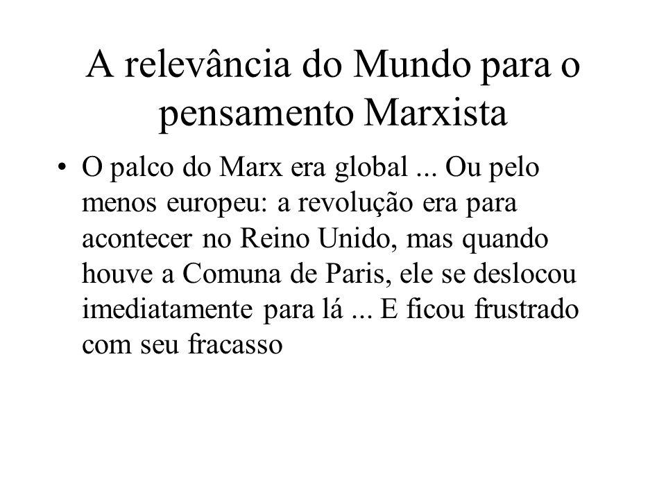 A relevância do Mundo para o pensamento Marxista O palco do Marx era global... Ou pelo menos europeu: a revolução era para acontecer no Reino Unido, m