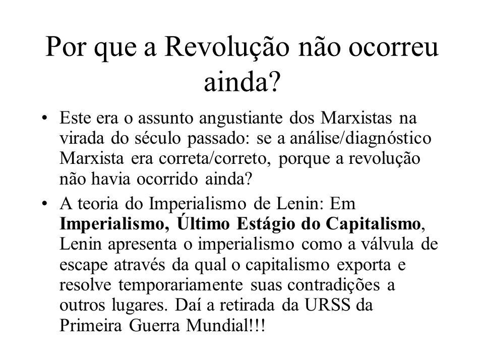 Por que a Revolução não ocorreu ainda? Este era o assunto angustiante dos Marxistas na virada do século passado: se a análise/diagnóstico Marxista era
