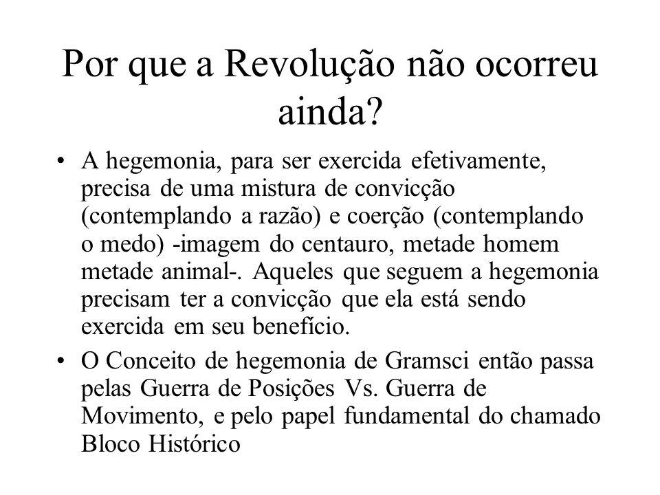 Por que a Revolução não ocorreu ainda? A hegemonia, para ser exercida efetivamente, precisa de uma mistura de convicção (contemplando a razão) e coerç
