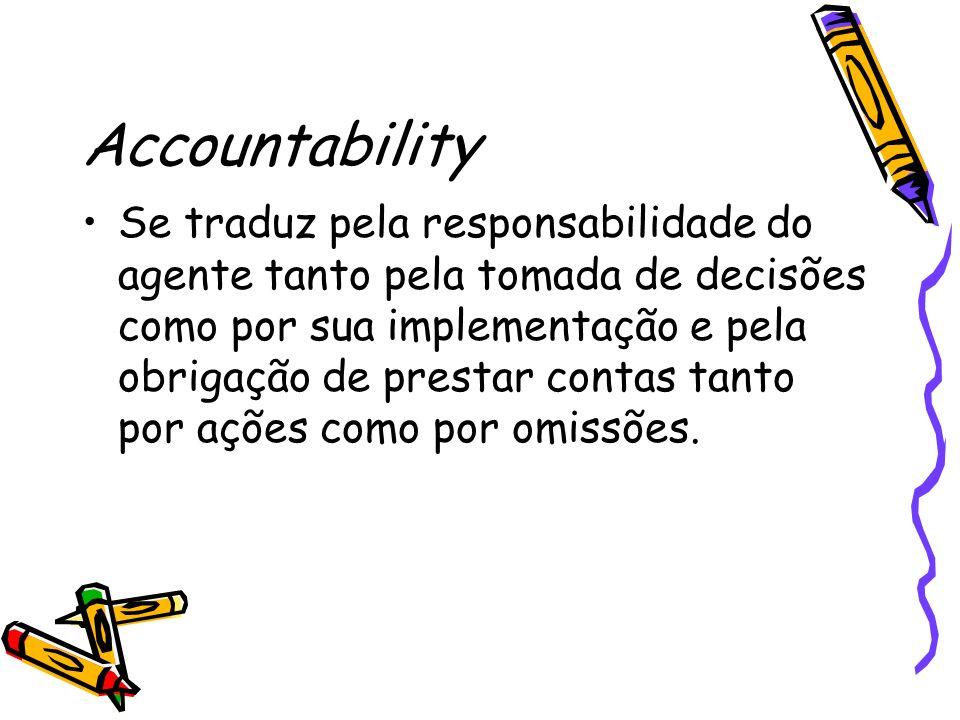 Accountability Se traduz pela responsabilidade do agente tanto pela tomada de decisões como por sua implementação e pela obrigação de prestar contas tanto por ações como por omissões.