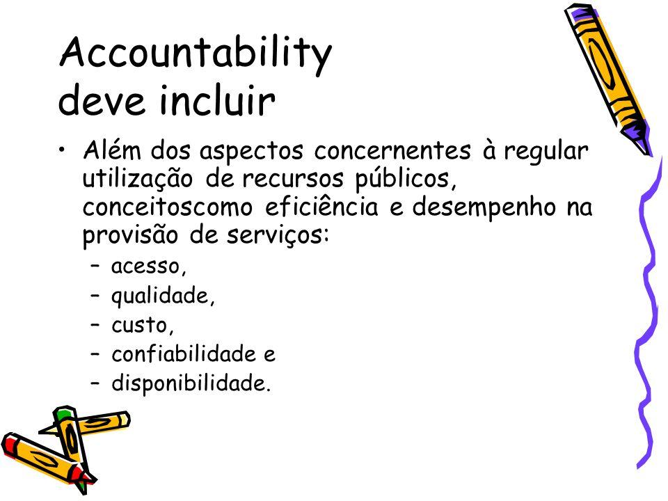Accountability deve incluir Além dos aspectos concernentes à regular utilização de recursos públicos, conceitoscomo eficiência e desempenho na provisão de serviços: –acesso, –qualidade, –custo, –confiabilidade e –disponibilidade.