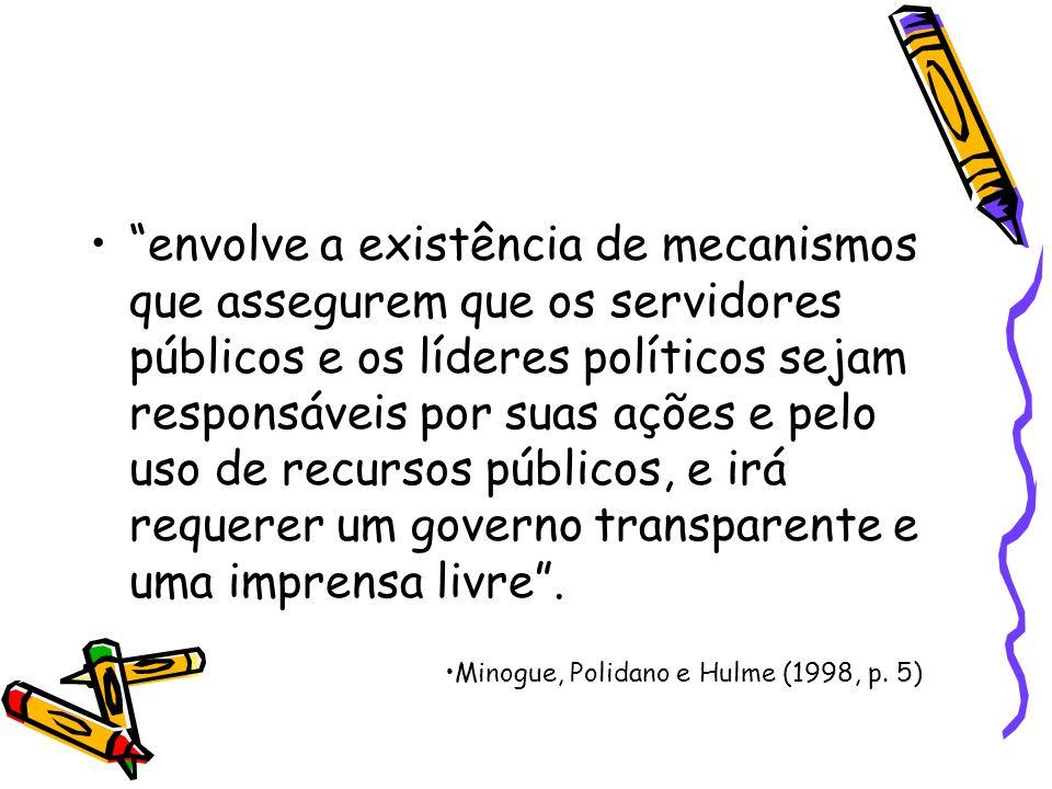 Para Matias-Pereira (2010) o termo accountability pode ser considerado um conjunto de macanismos e procedimentos que levam os decisores governamentais a prestarem contas dos resultados de suas ações, garanatindo-se maior transparência e a exposição das políticas públicas.