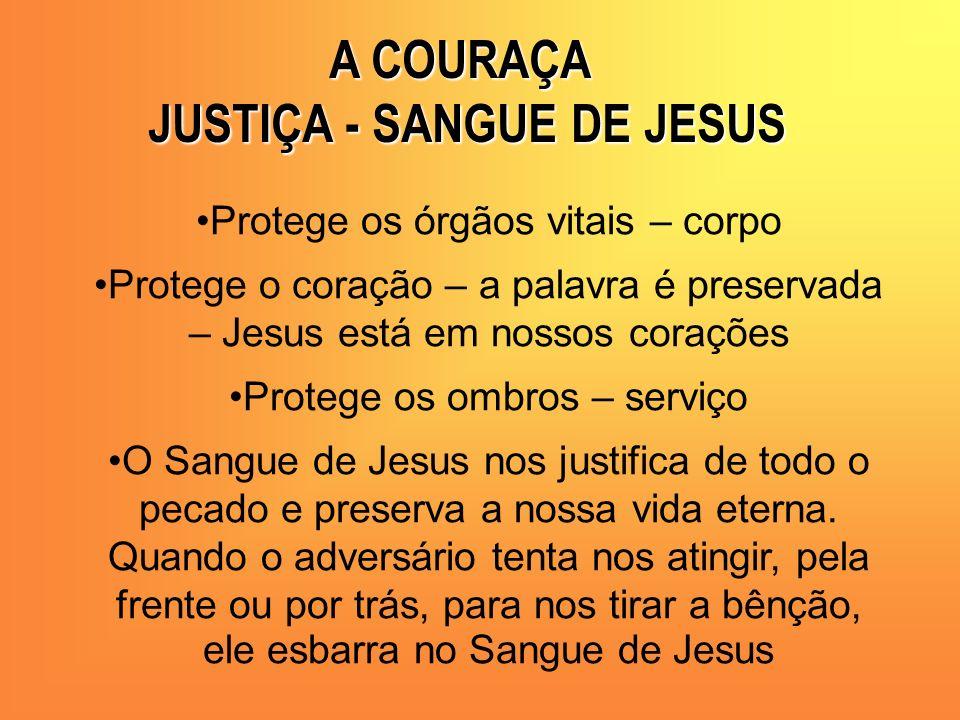 Protege os órgãos vitais – corpo Protege o coração – a palavra é preservada – Jesus está em nossos corações Protege os ombros – serviço O Sangue de Je