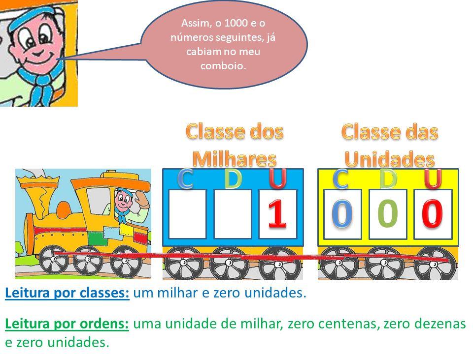 Assim, o 1000 e o números seguintes, já cabiam no meu comboio.