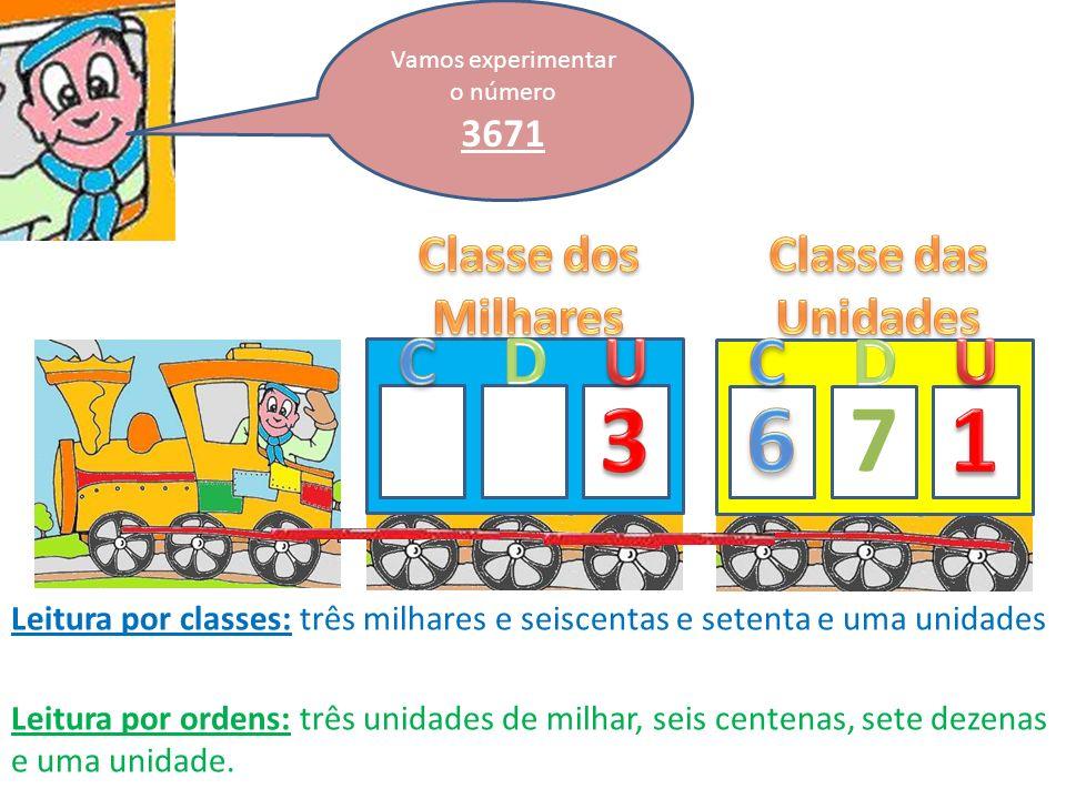 Vamos experimentar o número 3671 7 Leitura por classes: três milhares e seiscentas e setenta e uma unidades Leitura por ordens: três unidades de milhar, seis centenas, sete dezenas e uma unidade.