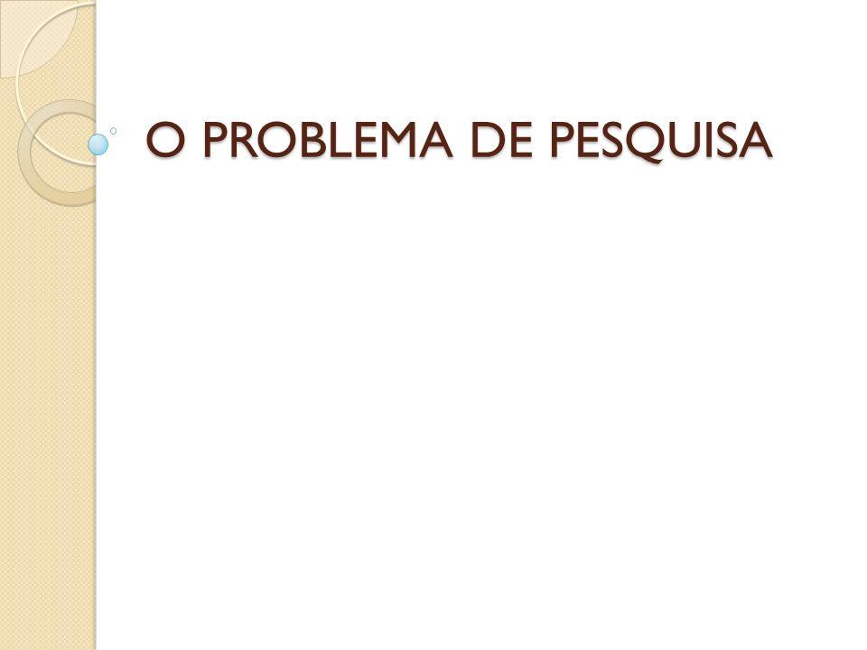 O PROBLEMA DE PESQUISA