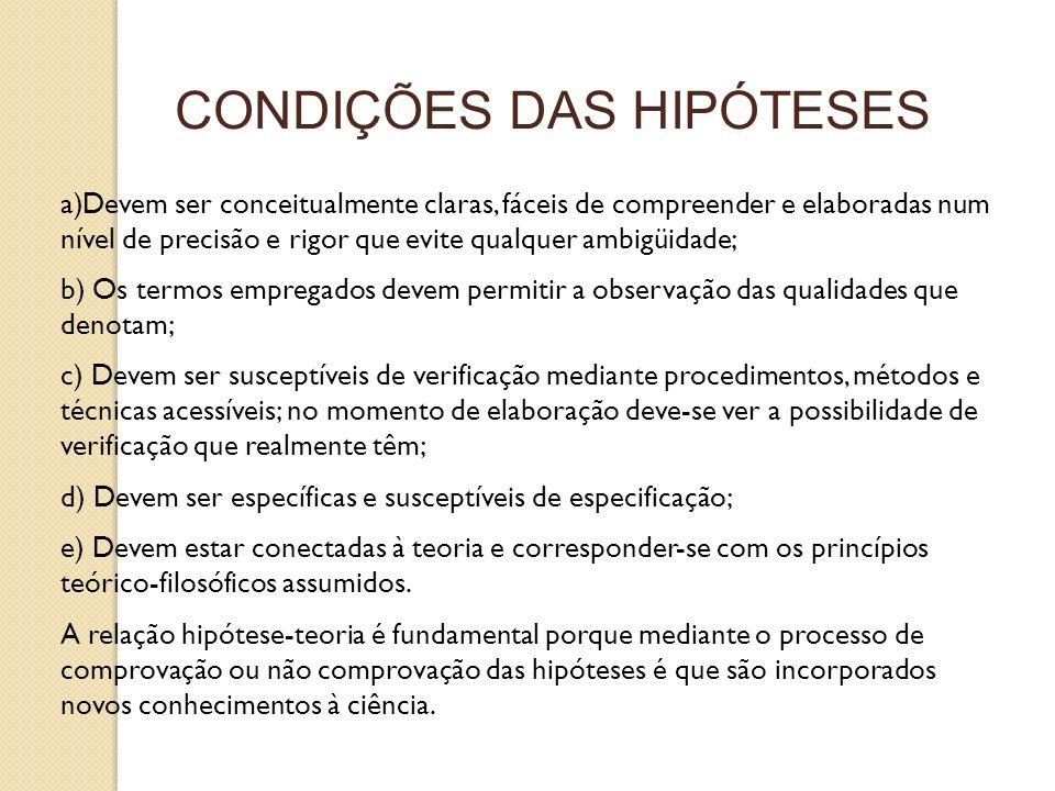a)Devem ser conceitualmente claras, fáceis de compreender e elaboradas num nível de precisão e rigor que evite qualquer ambigüidade; b) Os termos empr
