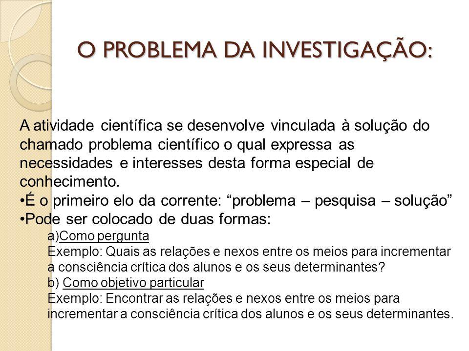 PROBLEMA: ASPECTOS A CONSIDERAR 1.ÂMBITO DO PROBLEMA 2.