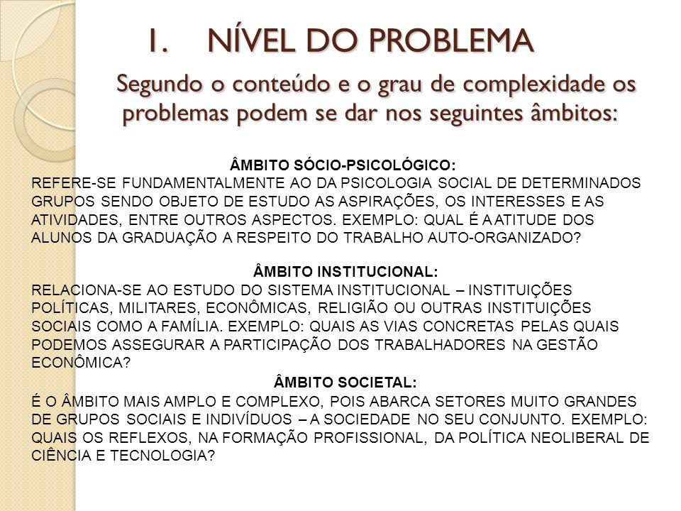 1.NÍVEL DO PROBLEMA Segundo o conteúdo e o grau de complexidade os problemas podem se dar nos seguintes âmbitos: ÂMBITO SÓCIO-PSICOLÓGICO: REFERE-SE F