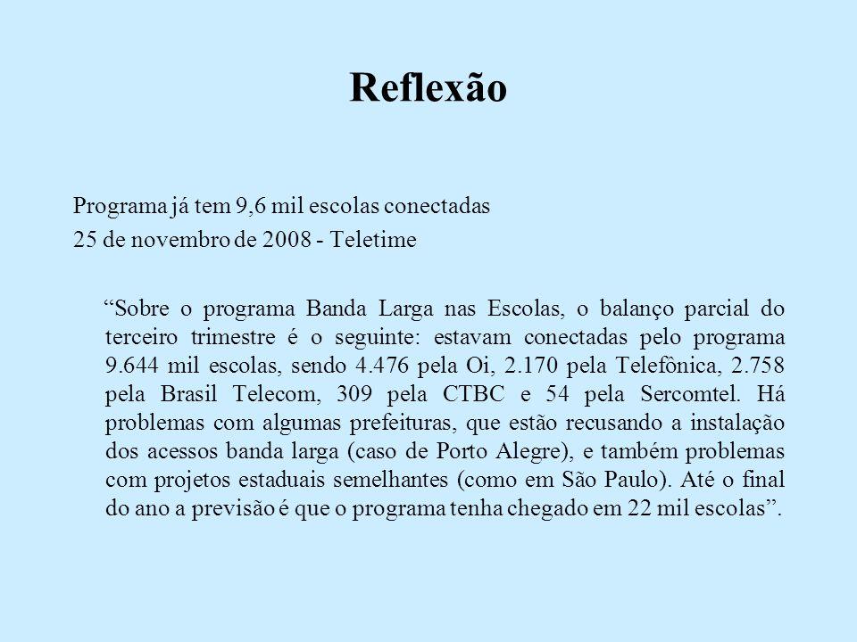 Reflexão Programa já tem 9,6 mil escolas conectadas 25 de novembro de 2008 - Teletime Sobre o programa Banda Larga nas Escolas, o balanço parcial do terceiro trimestre é o seguinte: estavam conectadas pelo programa 9.644 mil escolas, sendo 4.476 pela Oi, 2.170 pela Telefônica, 2.758 pela Brasil Telecom, 309 pela CTBC e 54 pela Sercomtel.