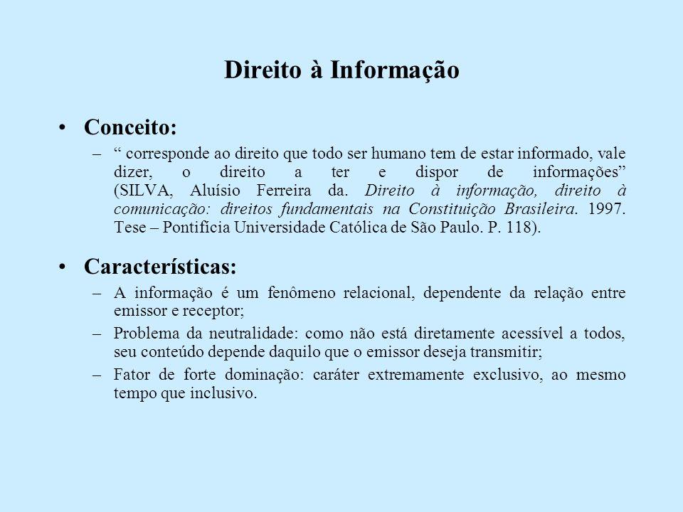 Direito à Informação Conceito: – corresponde ao direito que todo ser humano tem de estar informado, vale dizer, o direito a ter e dispor de informações (SILVA, Aluísio Ferreira da.