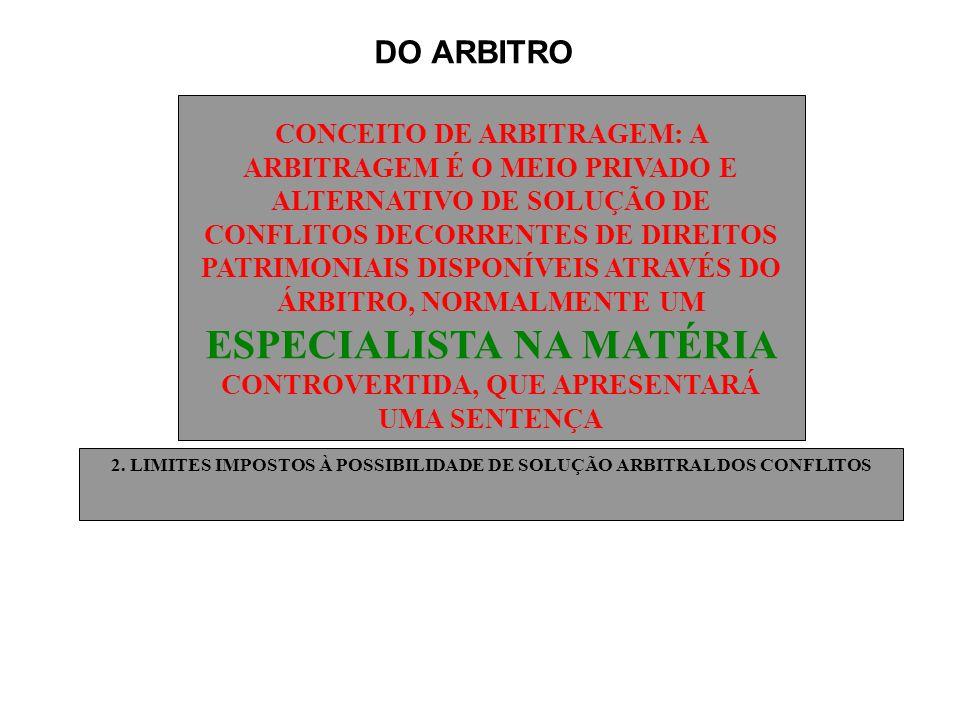 DO ARBITRO CONCEITO DE ARBITRAGEM: A ARBITRAGEM É O MEIO PRIVADO E ALTERNATIVO DE SOLUÇÃO DE CONFLITOS DECORRENTES DE DIREITOS PATRIMONIAIS DISPONÍVEI