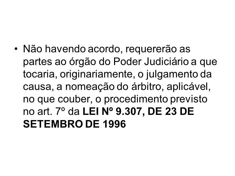 Não havendo acordo, requererão as partes ao órgão do Poder Judiciário a que tocaria, originariamente, o julgamento da causa, a nomeação do árbitro, ap