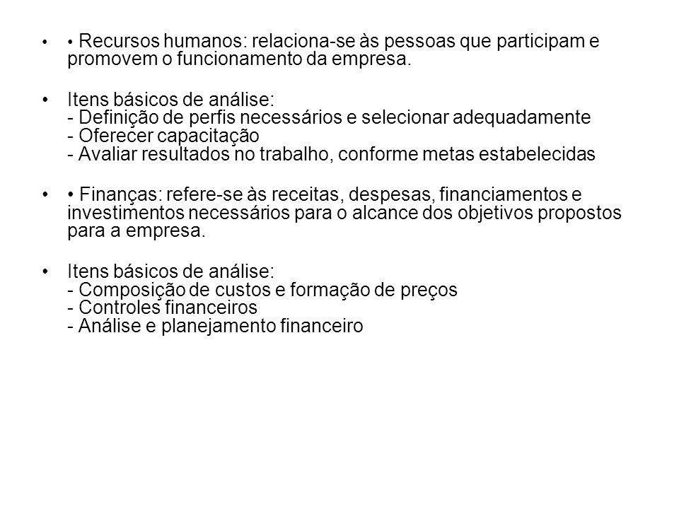 Recursos humanos: relaciona-se às pessoas que participam e promovem o funcionamento da empresa. Itens básicos de análise: - Definição de perfis necess