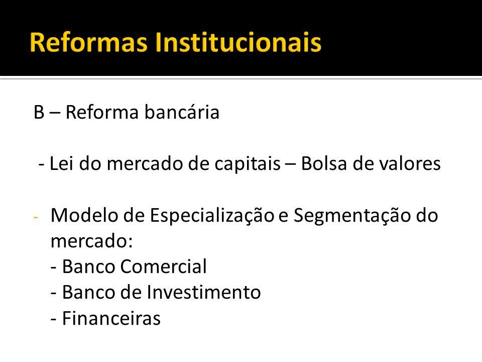 B – Reforma bancária - Lei do mercado de capitais – Bolsa de valores - Modelo de Especialização e Segmentação do mercado: - Banco Comercial - Banco de